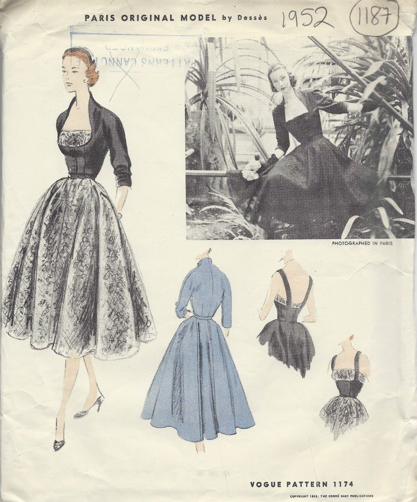 1952 Vintage VOGUE Sewing Pattern B34 DRESS & JACKET (1187) By ...