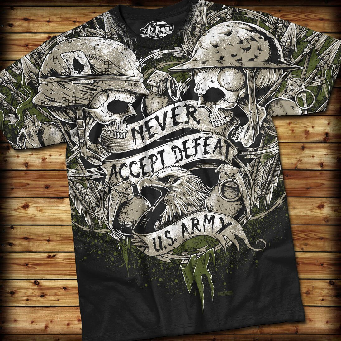 Shirt design graphics - Army Never Accept Defeat T Shirt 7 62 Design Graphic Military Tee Shirt