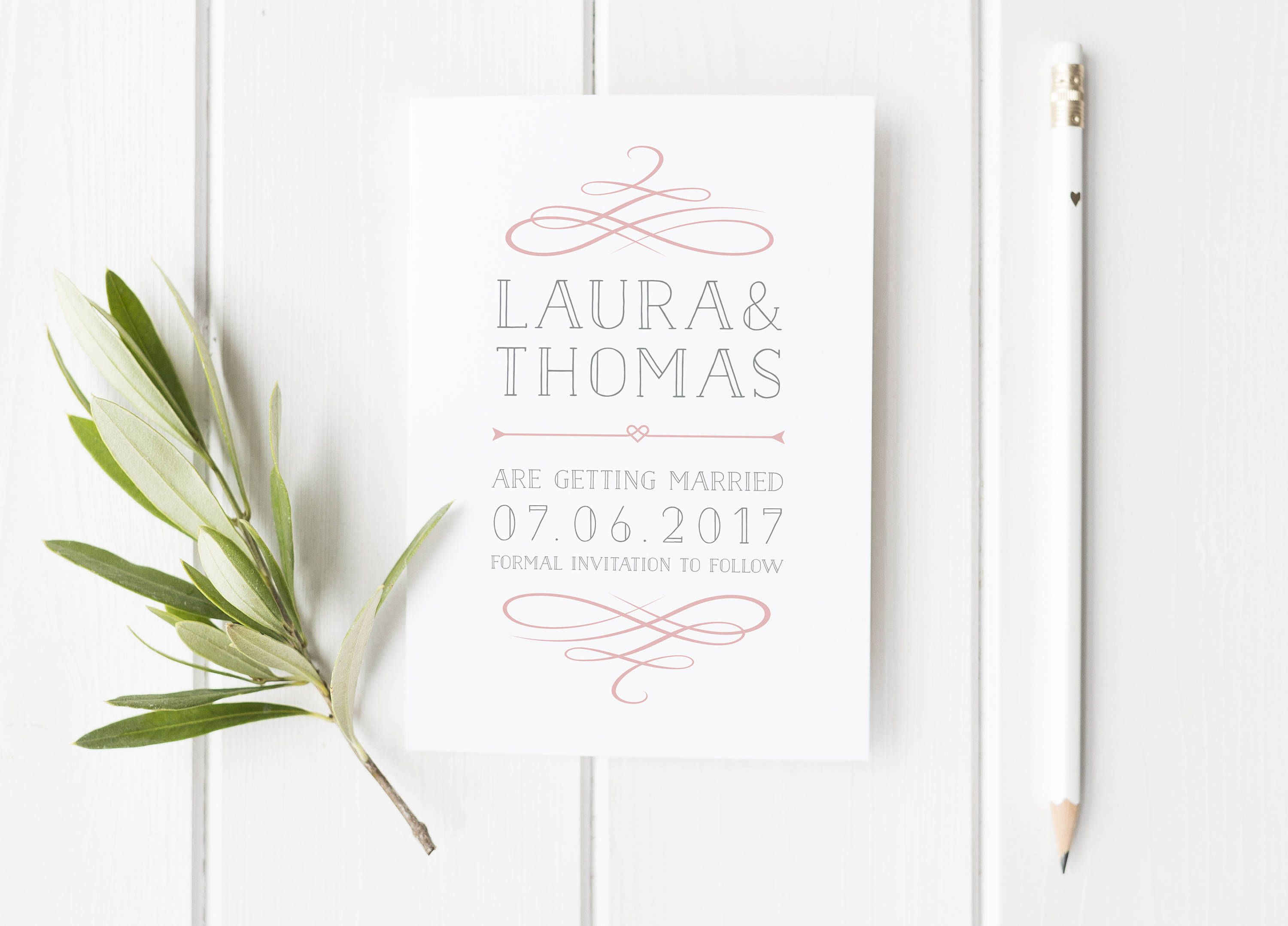 simple wedding invitations classy save the date card flourish
