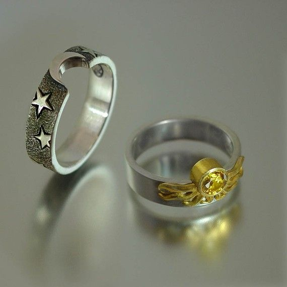 Sun and moon rings If I EVER happen to get married this is exactly