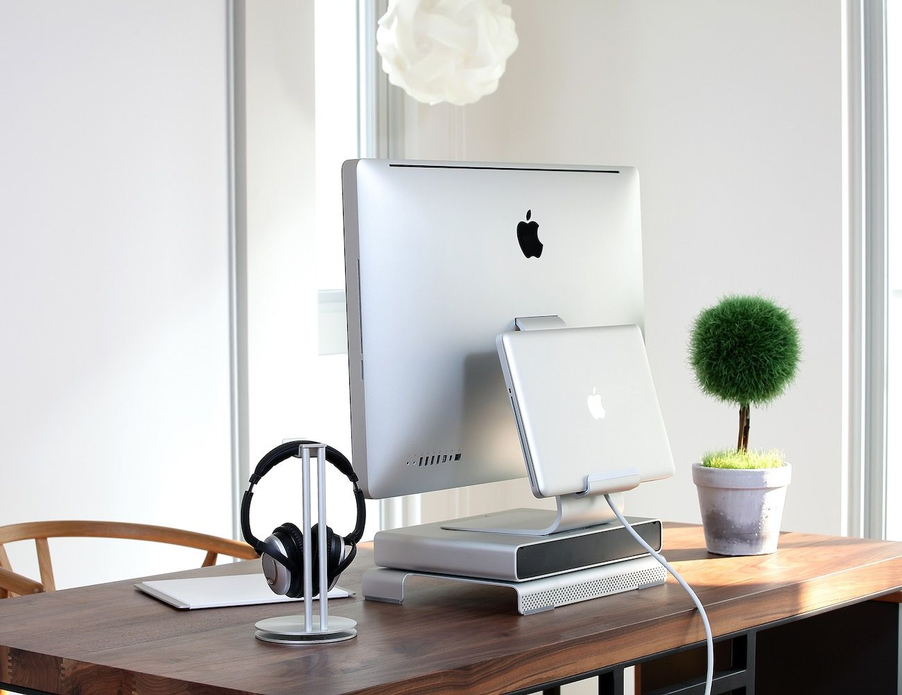 Maximize the space on your desk with the Drawer Monitor Stand by Just Mobile.