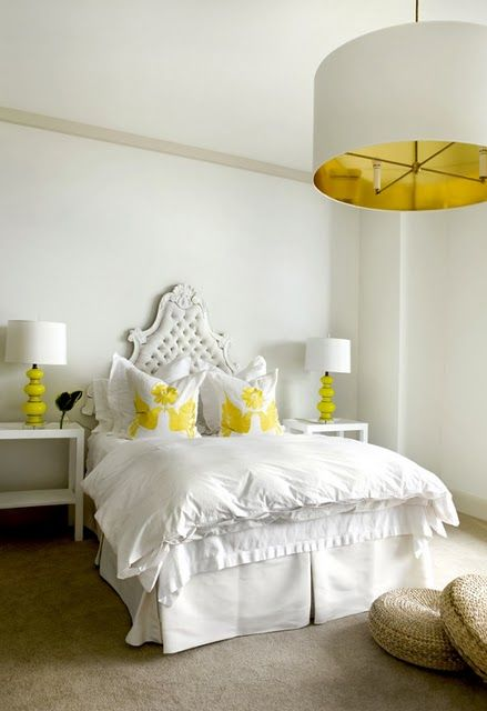 All white with a pop of yellow! - #Bedroom is the Sanctuary and Tranquil Location of the House. Create that Calm Atmosphere with Colors, Pillow, Curtains and Beautiful Flooring.  www.IrvineHomeBlog.com Contact me for any  Inquires about the Communities & Schools around Irvine, California. Christina Khandan Your Investment Specialist #RealEstate #Home