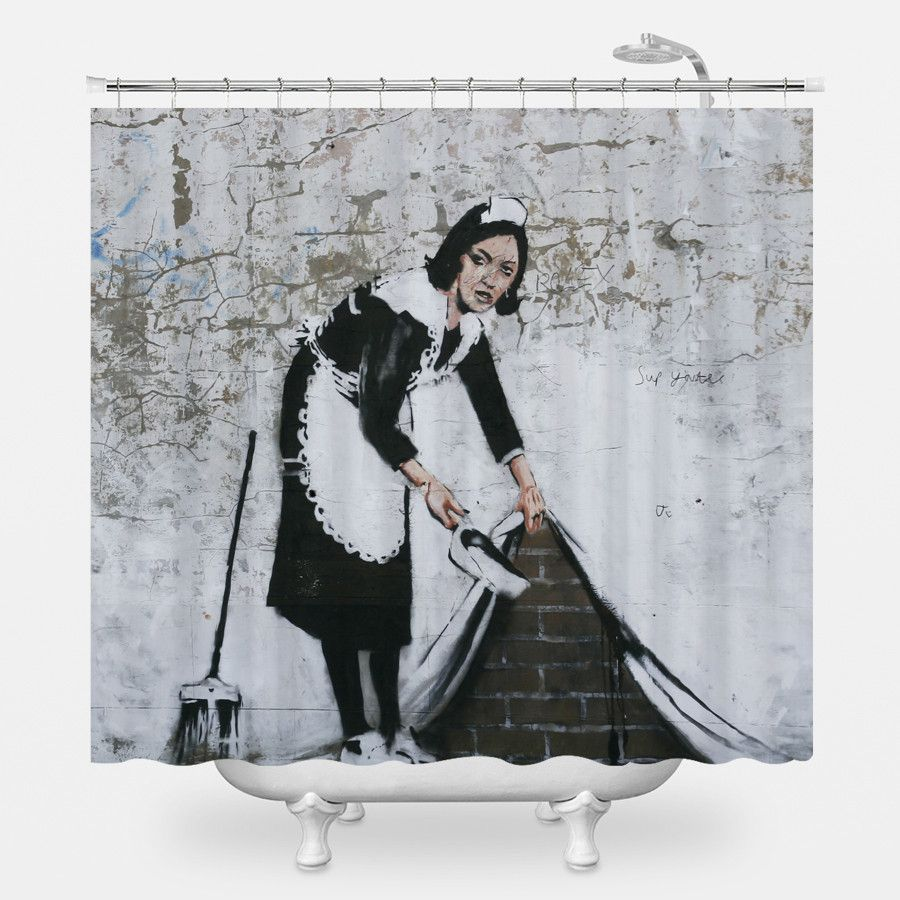 Sweep It Under Shower Curtain With Images Banksy Graffiti