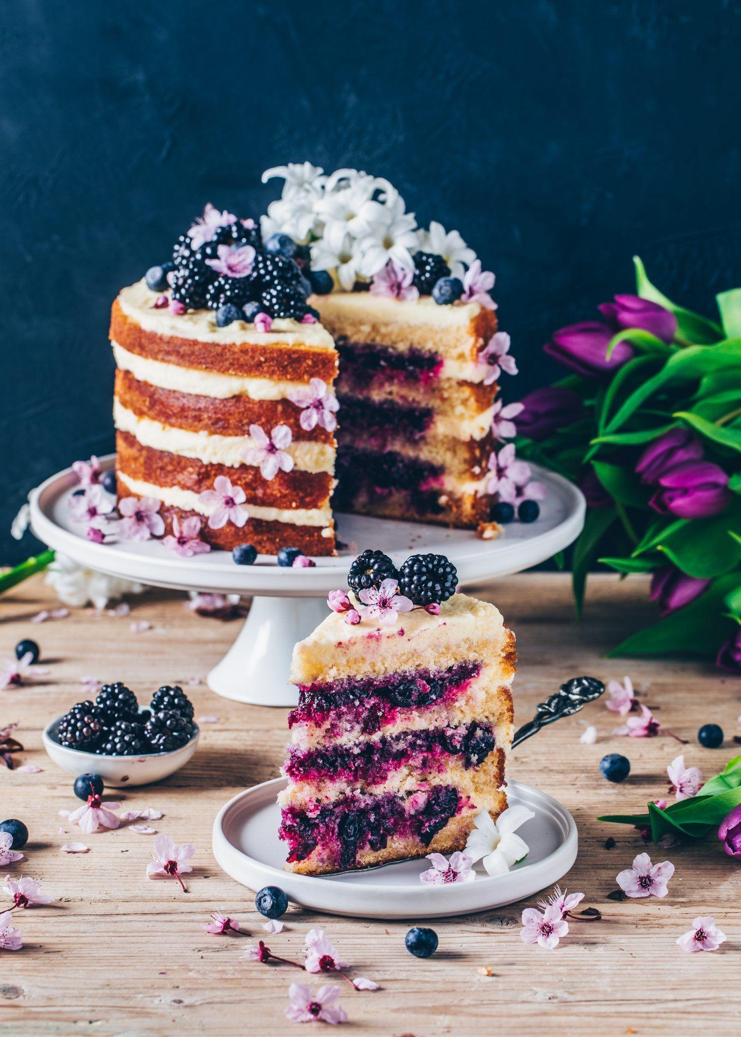 Zitronen-Blaubeer-Torte (Vegan) - Bianca Zapatka | Rezepte