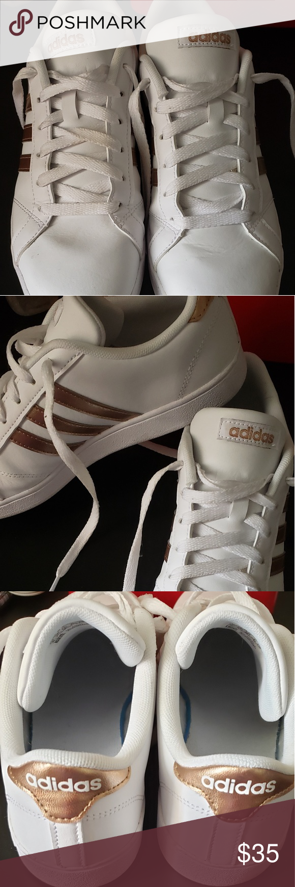 Adidas Baseline Shoes White with rose gold stripes. Size 6