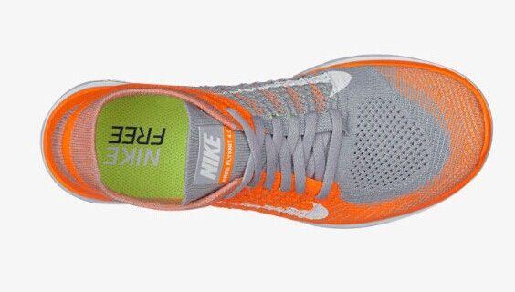 2014 Nike Free Flyknit 4.0 Mens Wolf Grey Netherlands Orange Ice White