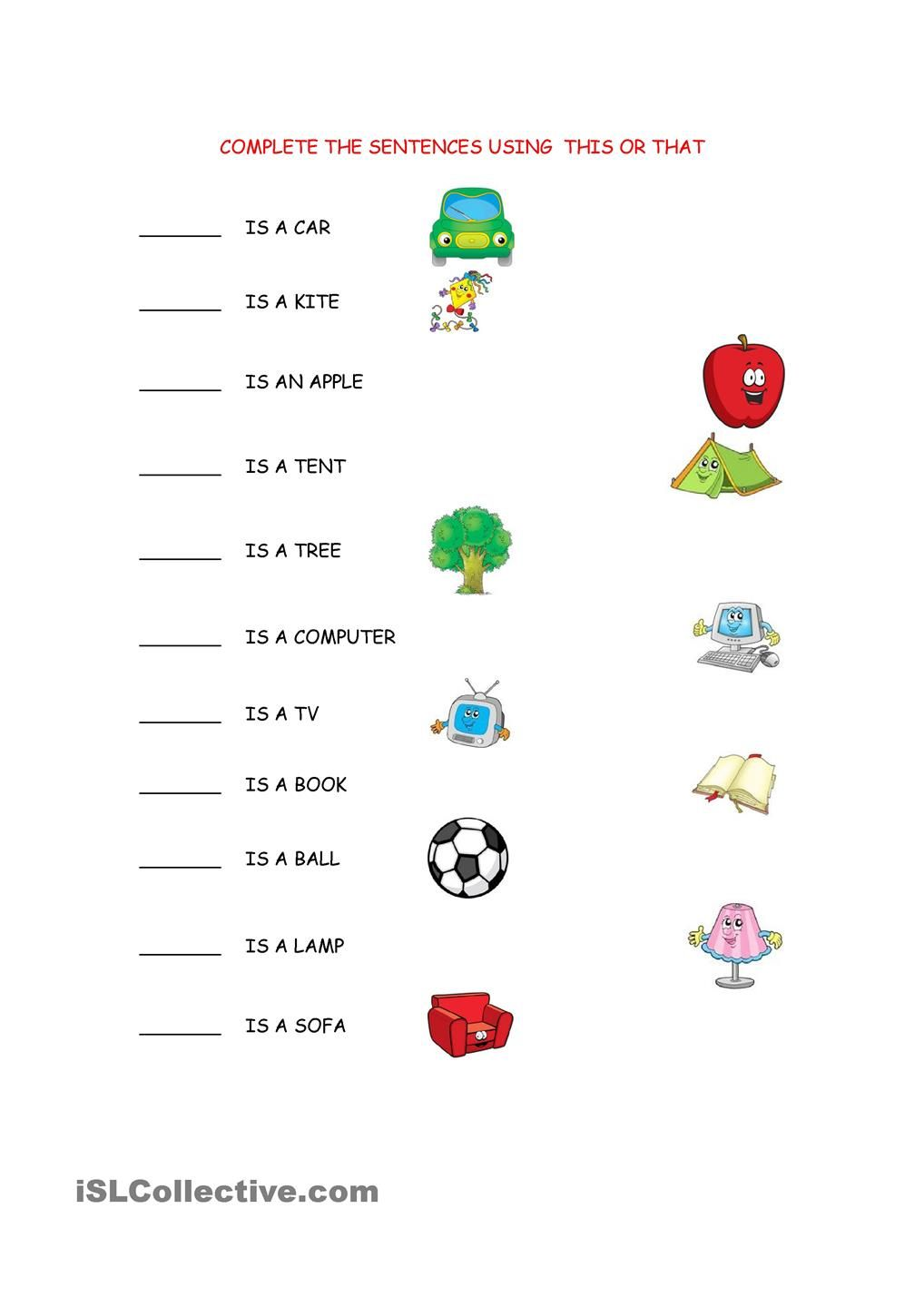 THIS/THAT WORKSHEET | Mai | Pinterest