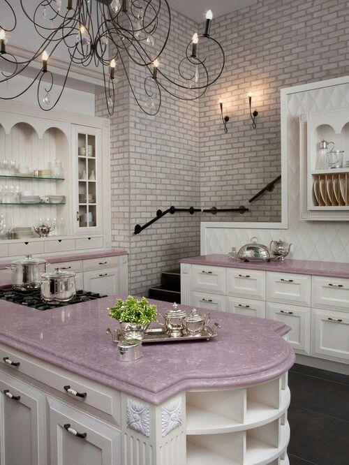 Rose Quartz Countertop Pink Kitchen Purple Kitchen Traditional