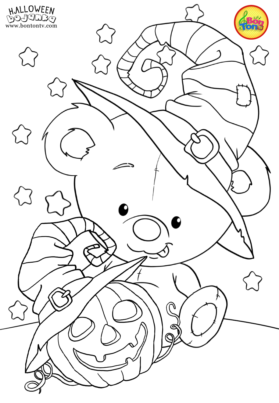 Halloween Coloring Pages For Kids Free Preschool Printables Noc Vjestica Bojanke Cute Halloween Coloring Book Scary Halloween Crafts Cute Coloring Pages
