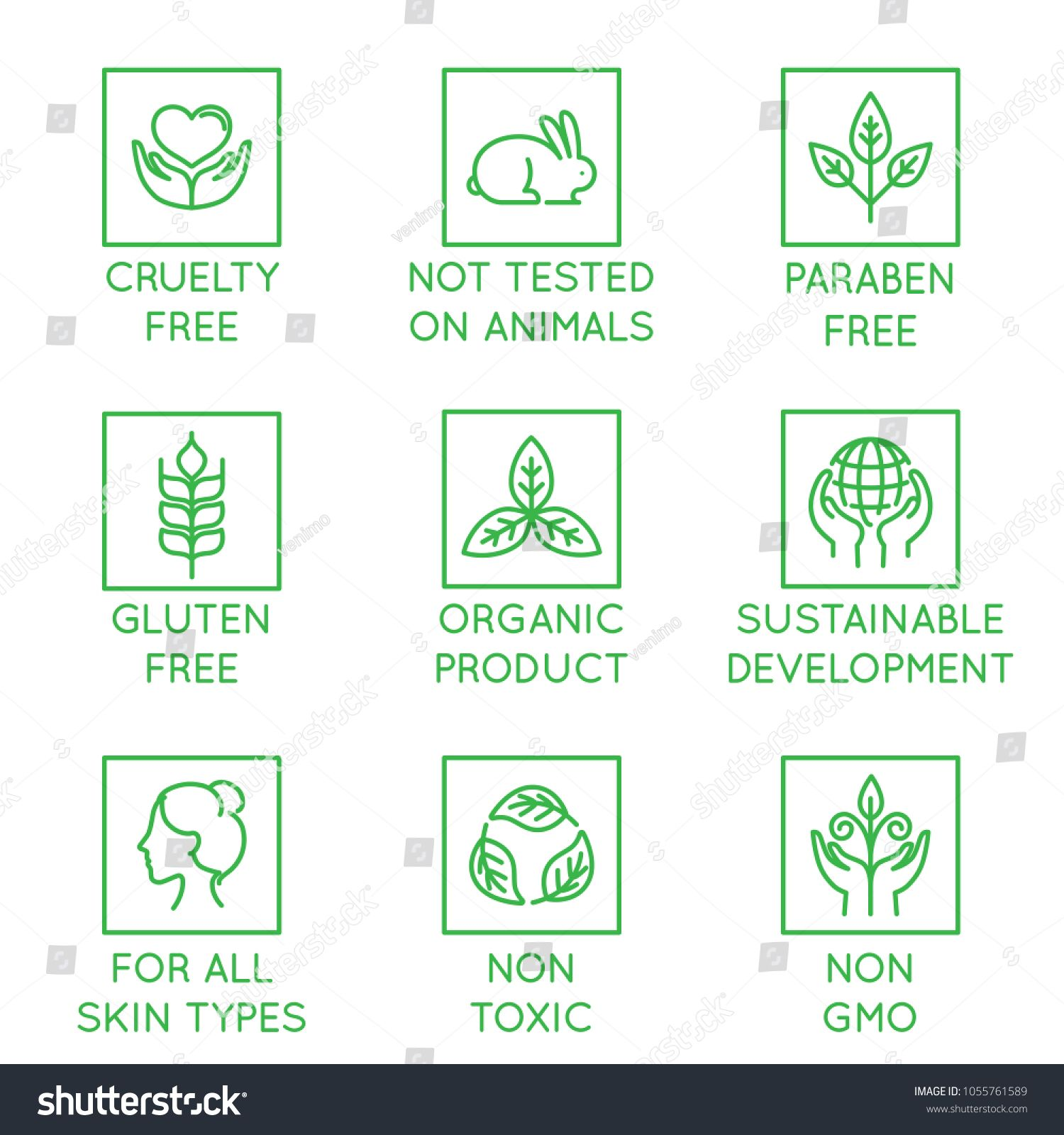Vector Set Of Design Elements Logo Design Template Icons And Badges For Natural And Organic Cosmetics Paraben Free Products Logo Design Template Logo Design