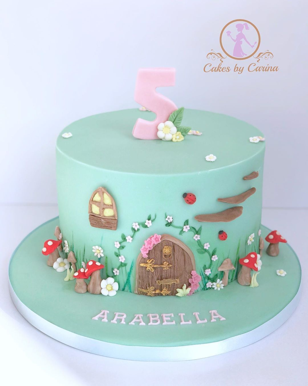 Cakes By Carina On Instagram A Happy Birthday To Arabella This Weekend Also A Magical Fairy Garden Themed Cake For Her 5th Birthday Fairygardencake