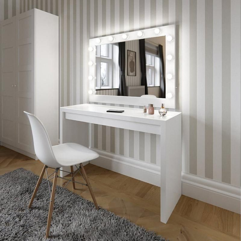 Audrey Hollywood Mirror In White Gloss 100 X 80cm In 2020 Modern White Dressing Table Hollywood Mirror Illuminated Dressing Table Mirror