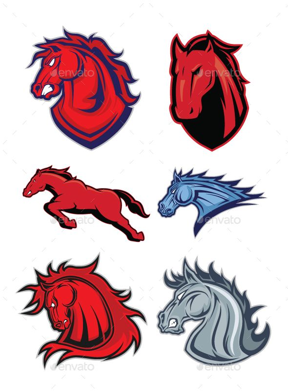 Clipart picture of horse or mustang cartoon mascot logo character. Fully customizable in AI and EPS, Also available in JPG and PNG