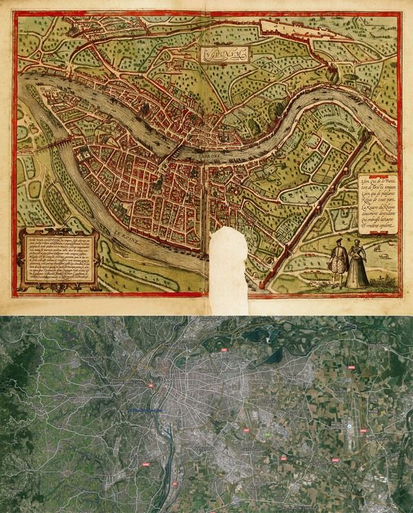#Lyon, #France #Map: Then(1572) And Now(2016) #OldCities #OldMaps  Http://old Cities World.blogspot.rs/2016/03/lyon France Map  Then1572 And Now2016.html