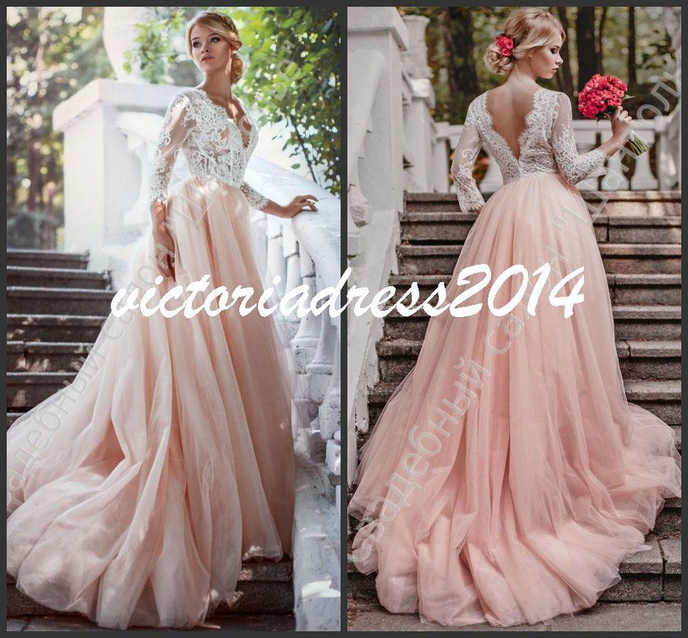blush pink romantic sheer lace sleeve wedding dress a line