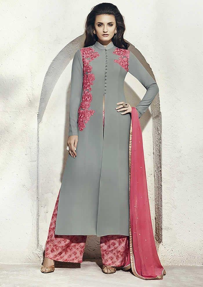 8098fc93d8 Grey Colour Georgette Designer Party Wear Suit Buy Sarees ...