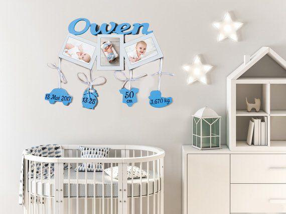 Personalized Birth Announcement Baby Gifts 1st Birthday Gift Ideas First Year Frame Boy Nursery Decor GodSon