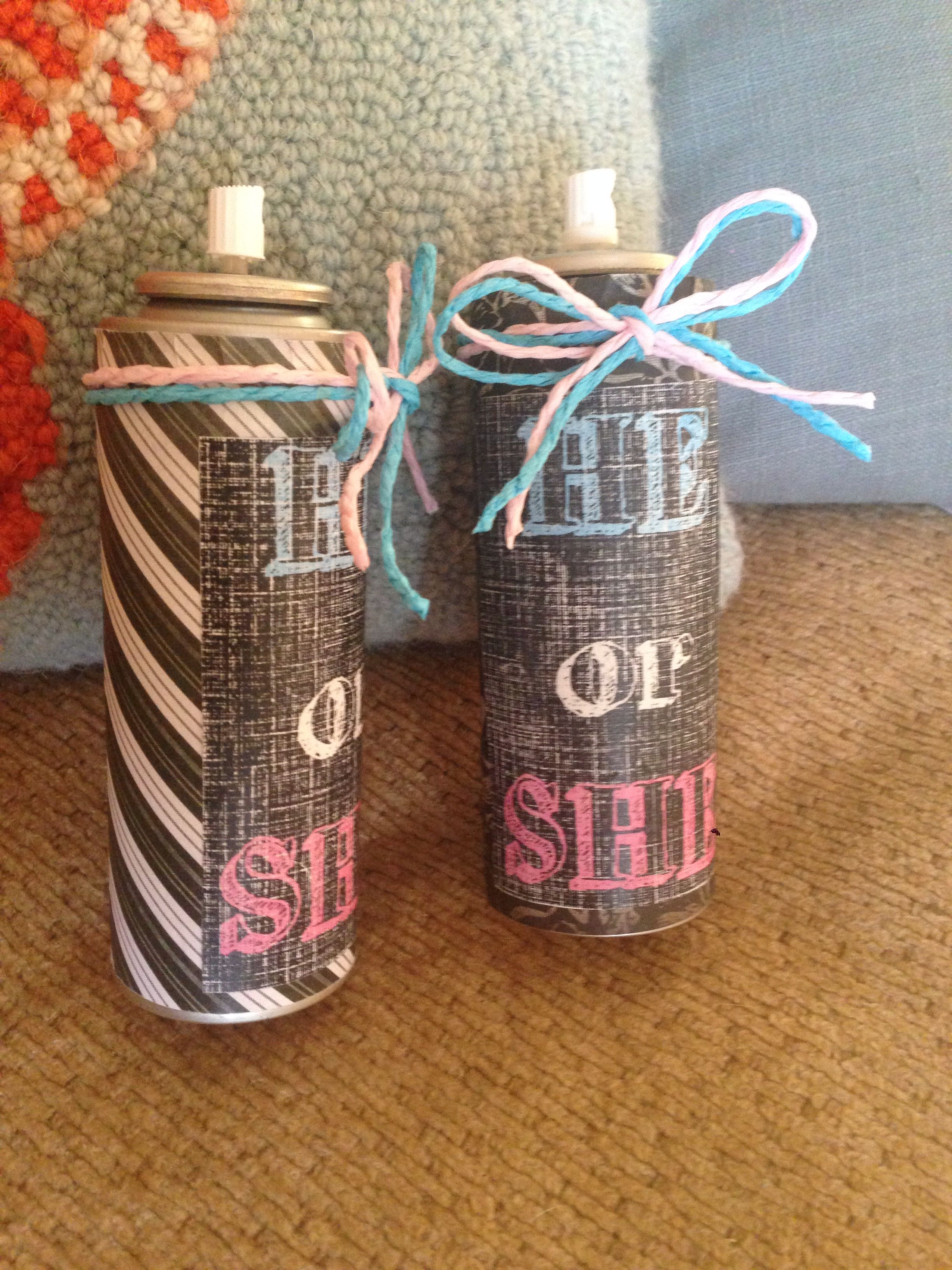 prepping the silly string for the upcoming gender reveal