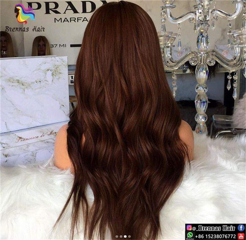 Luxury New Design Customized #4 Chocolate Color Natural Body Wave Lace Front Wigs 150% Density For Black Women