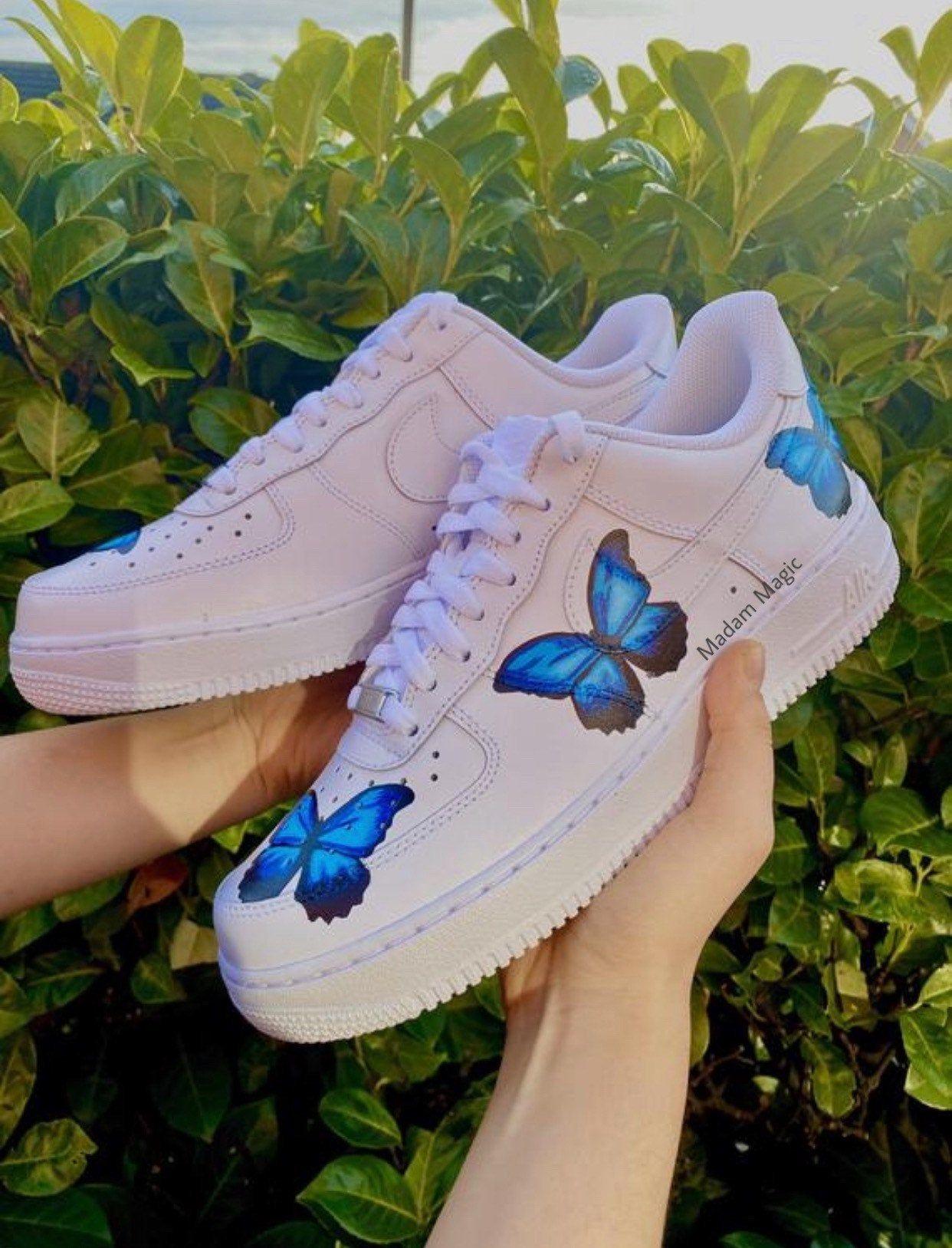 Hand Painted Custom Nike Air Force 1 Low Triple Blue