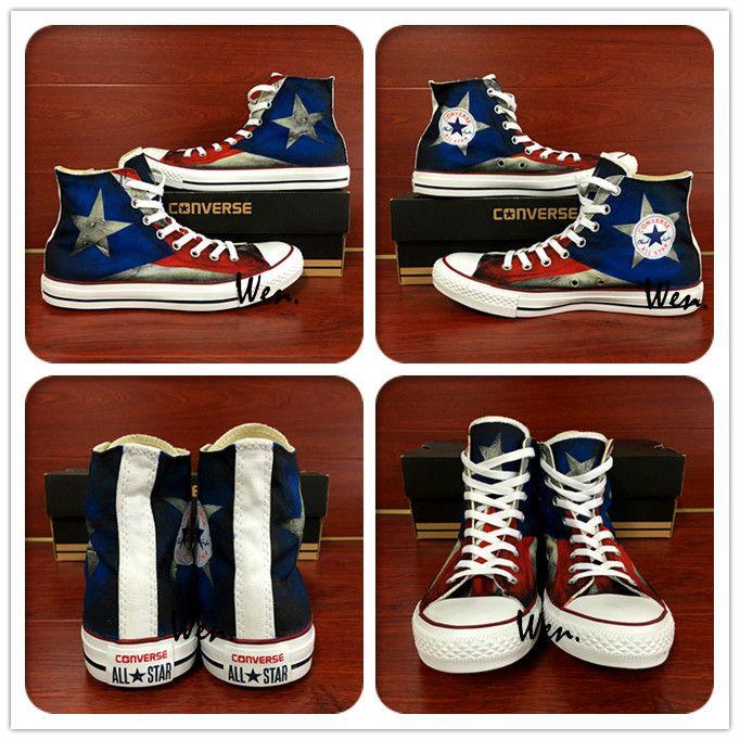 dcc4ce4043e9 Aliexpress.com   Buy USA Puerto Rico Flag Converse All Star Custom Design Hand  Painted