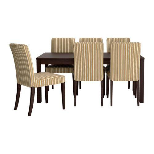 BJURSTAHENRIKSDAL Table and 6 chairs stripeLinghem light brown