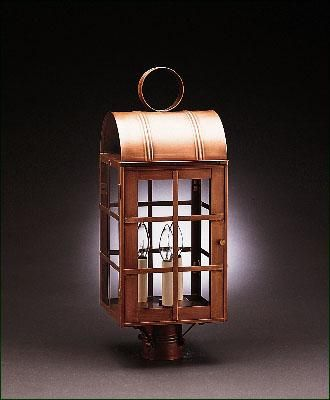 Jefferson post mount lantern solid brass and copper 18th century reproduction with clear glass in