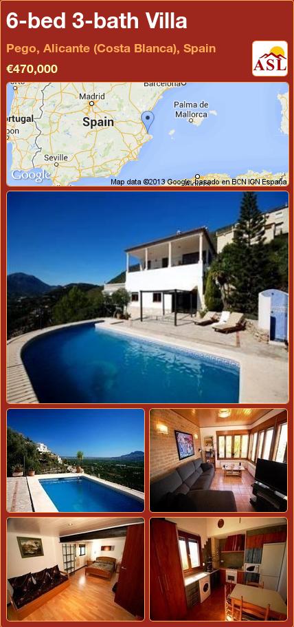 6-bed 3-bath Villa in Pego, Alicante (Costa Blanca), Spain ►€470,000 #PropertyForSaleInSpain
