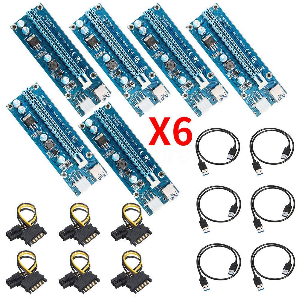 6 PCS USB 3.0 Pcie PCI-E Express 1x To 16x Extender Riser Card ...