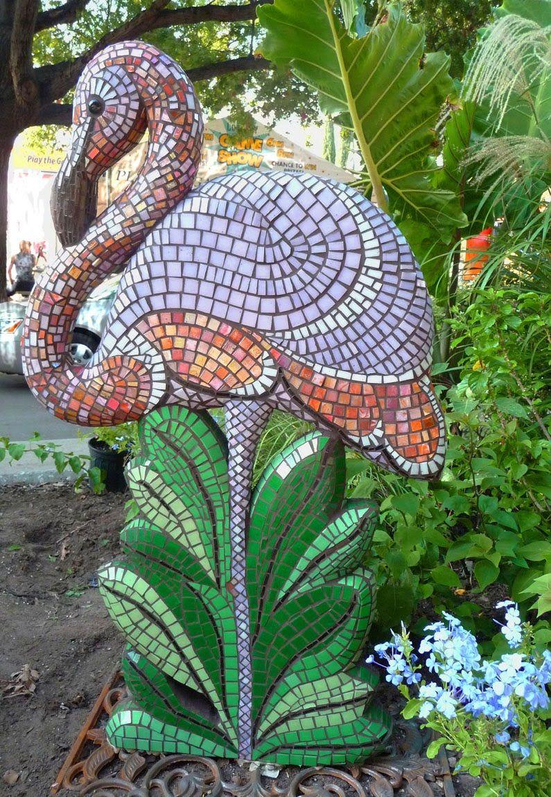 Gardens In The Sun Pink Flamingo Mosaic By Katrina Doran