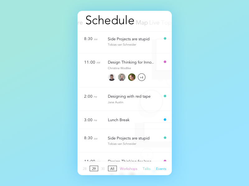 Conference App  Schedule Page By Alap Shah  Mobile Ui Examples