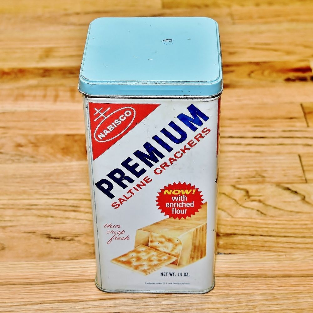 vintage 1969 nabisco premium saltine crackers kitchen canister tin