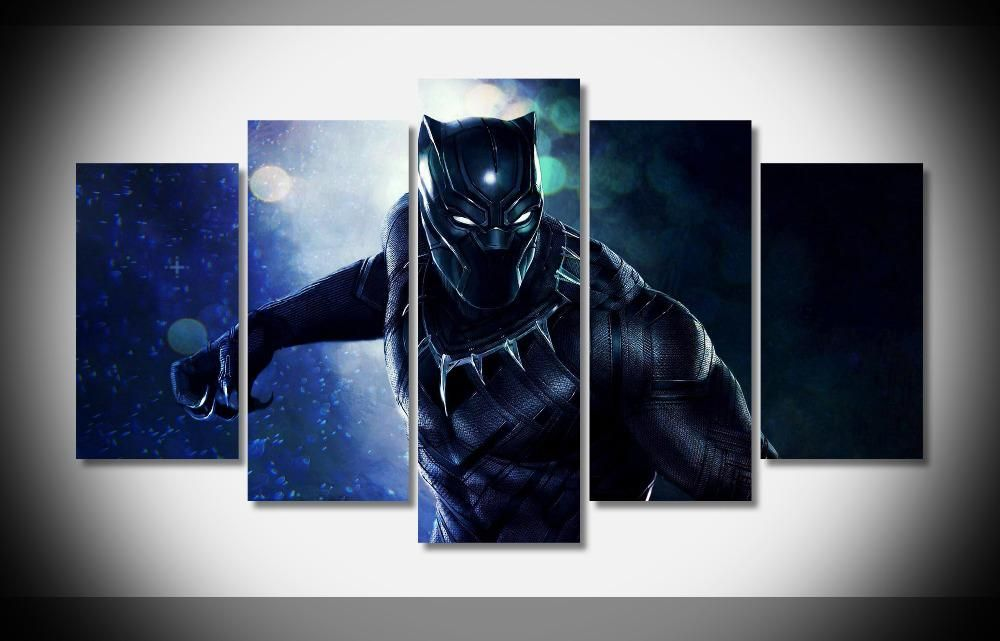 Black Panther 2018 Marvel Movie 5 Panel Canvas Wall Art Print Poster Picture Marvel Canvas Posters Art Prints Art