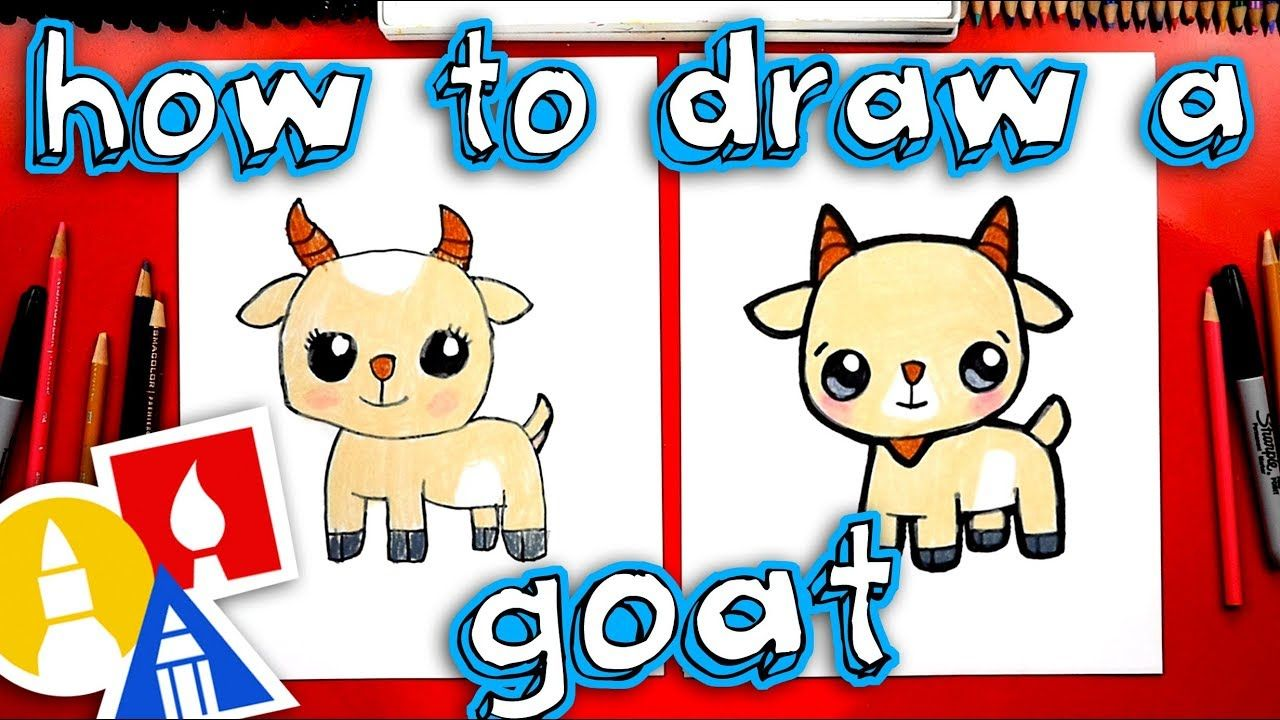 How to draw a cute cartoon goat youtube art for kids