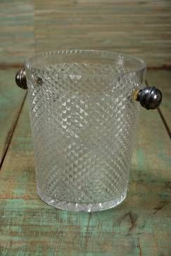 Vintage French Crystal Diamond Cut Ice Bucket with Two Silver Knob Handles Circa 1960