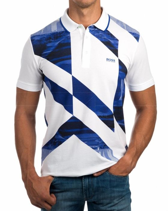 39c398b9b43 Polos Hugo Boss Blanco   Azul Royal - Palue