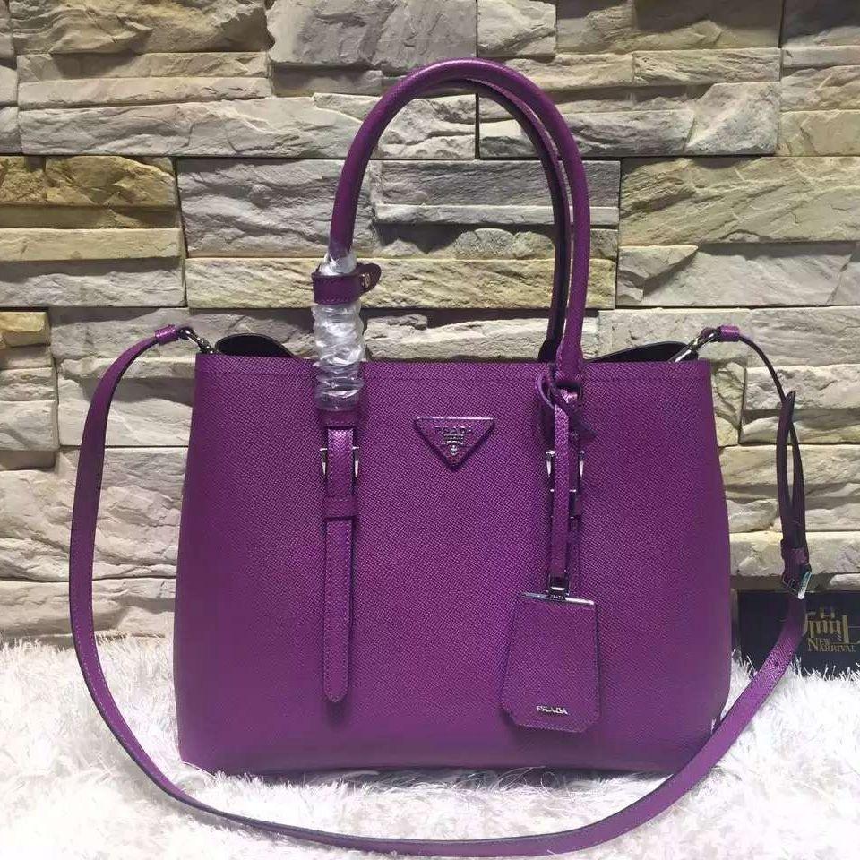 54aef0846eea Prada BN2838 Saffiano Cuir Leather Double Bag Purple