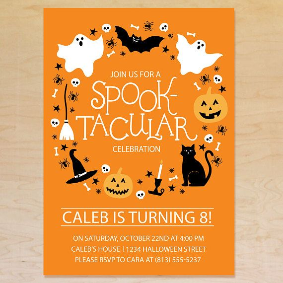kids halloween party invitation orange halloween birthday