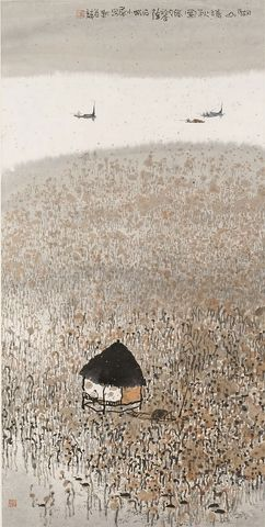 zhu daoping, lake and mountain in clear automne, ink on paper, 2005