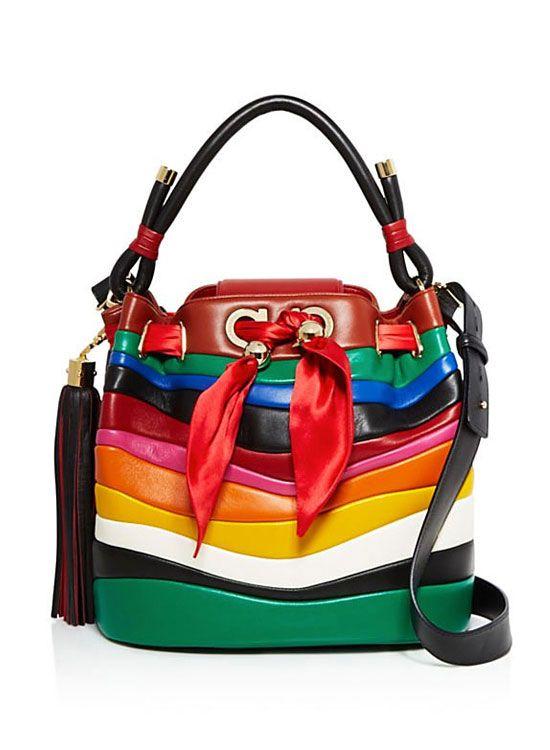 5d75b0c62a Salvatore Ferragamo By Sara Battaglia Multicolor Stripe Leather Bucket Bag