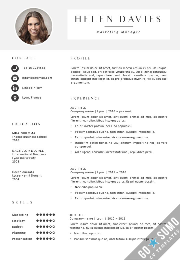 CV Template Lyon Cv template, Resume examples, Resume