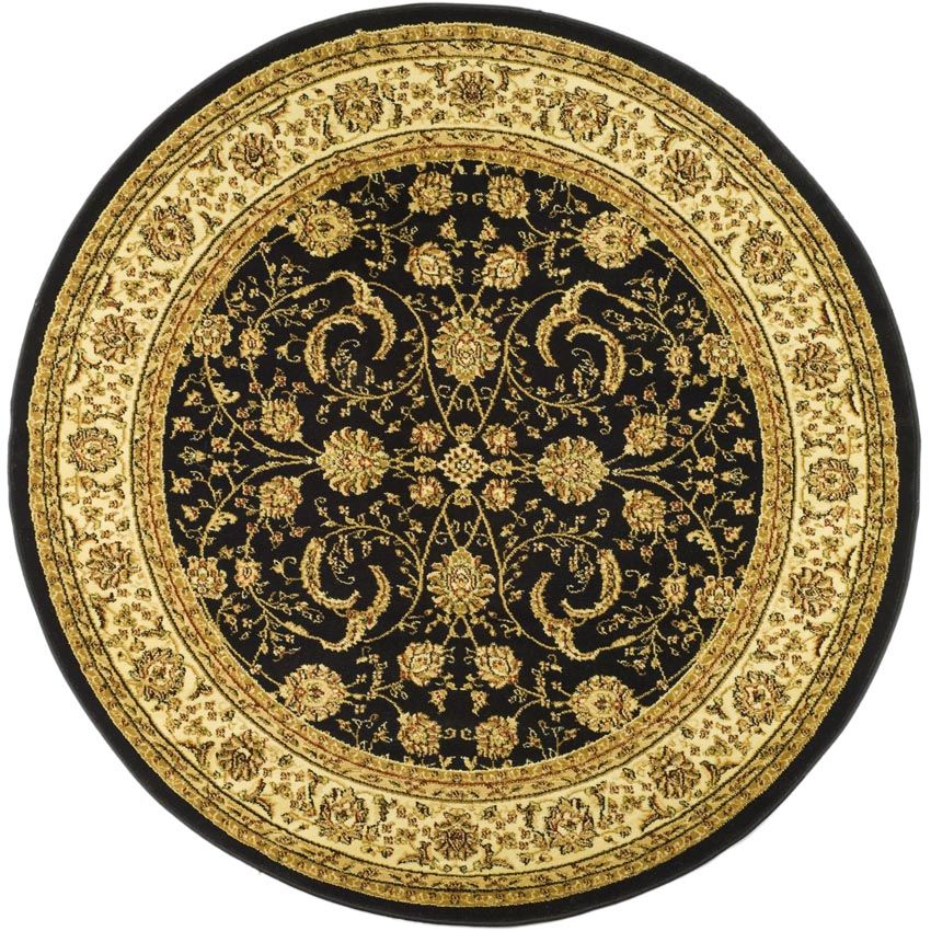 Lyndhurst collection 8 x 8 round rug in black and ivory