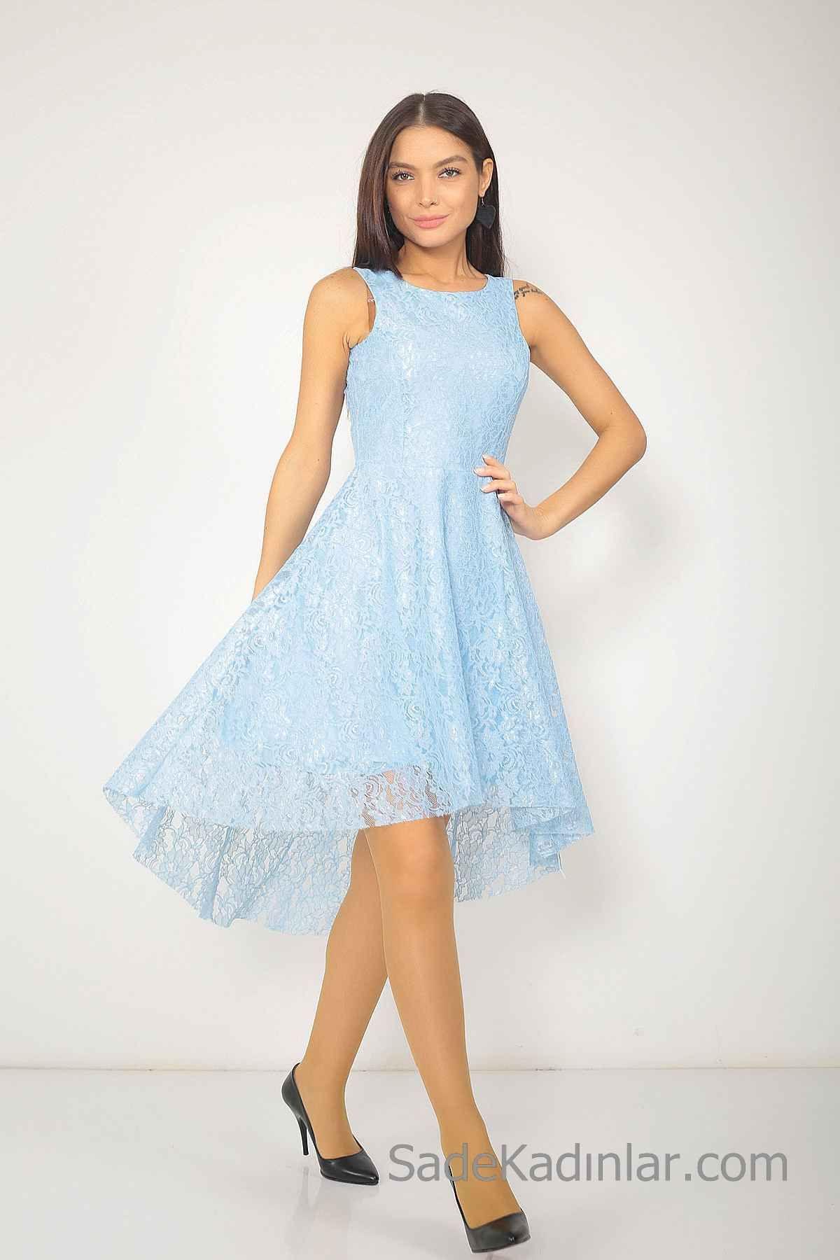 2020 Bebe Mavisi Elbise Modelleri Onu Kisa Arkasi Uzun Kolsuz Dantel Elbise Modelleri Elbise Kiyafet