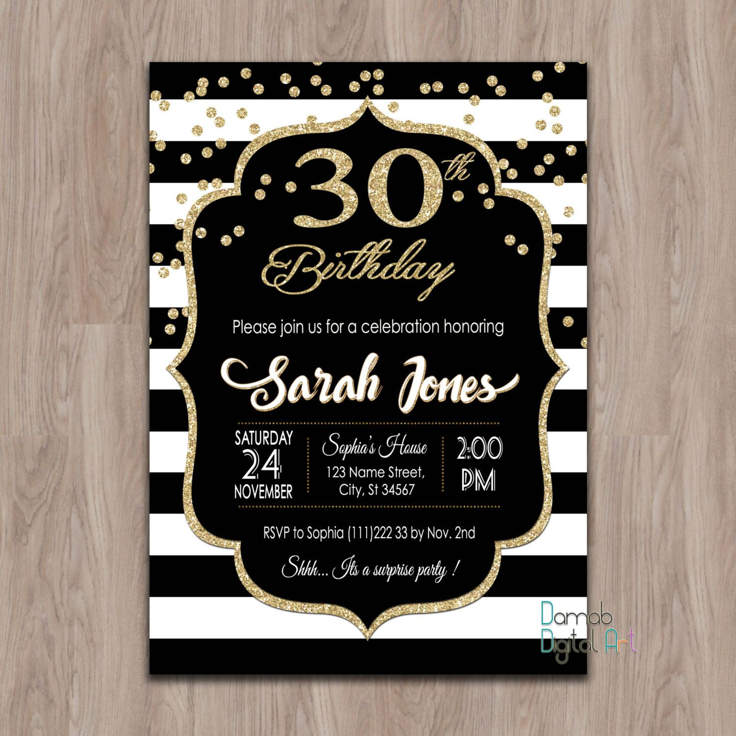 30th Birthday Invitation Invites 40th 50th