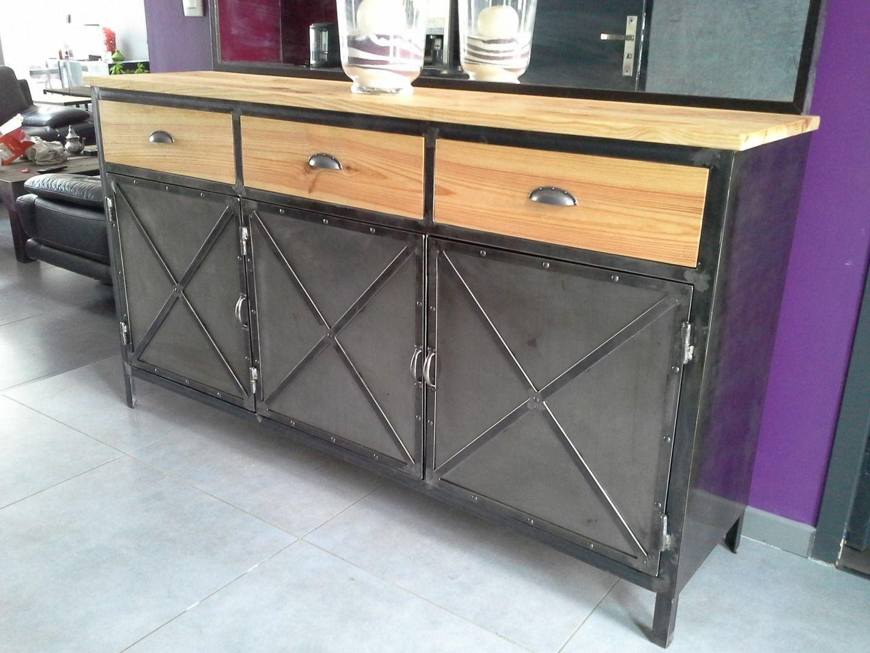 Mobilier industriel recherche google wood steel buffet industriel buffet metal et - Meuble metal industriel ...