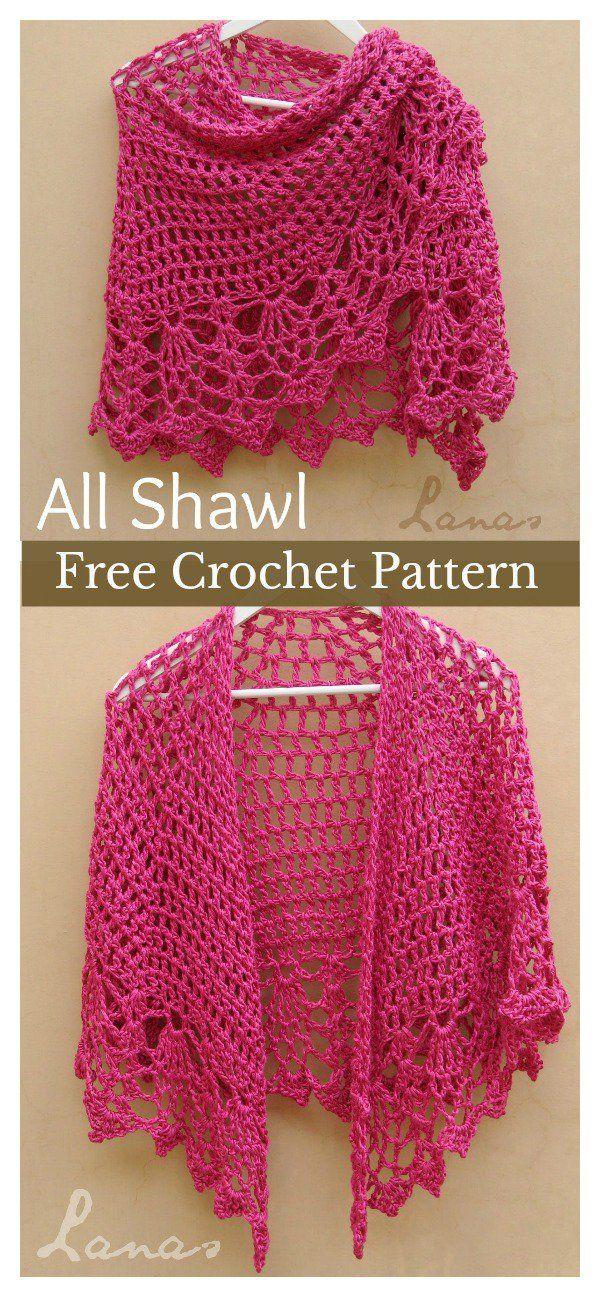 Pineapple Stitch All Shawl Free Crochet Pattern | Encajes ...