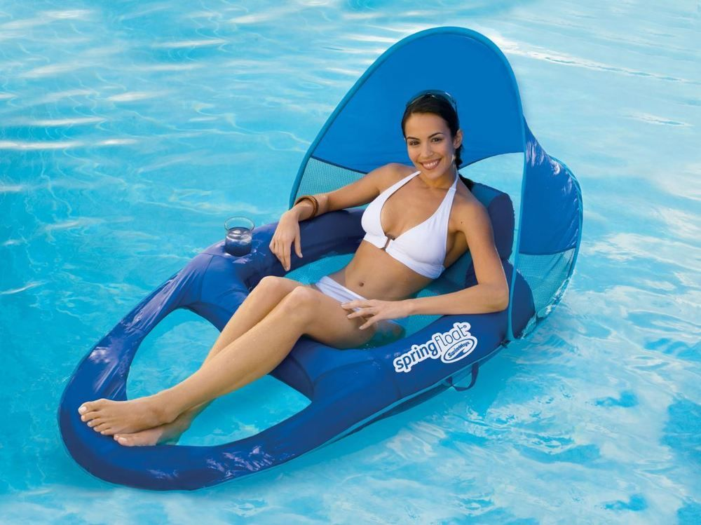 Inflatable Water Recliner Chair Sun Canopy Lake Pool Swimming Float Bed Lounger  sc 1 st  Pinterest & Inflatable Water Recliner Chair Sun Canopy Lake Pool Swimming ... islam-shia.org