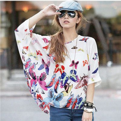 75b05d182ae9e Big Beautiful Colorful Floral Blouses Women s Chiffon Blouse Shirts Tops  Scruffy Chic Girl Hot New Styles for you Butterfly Print Blouse Floral  Print Blouse ...