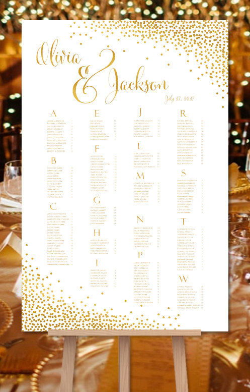 Wedding seating chart poster confetti gold by weddingtemplates also reception plan rh pinterest