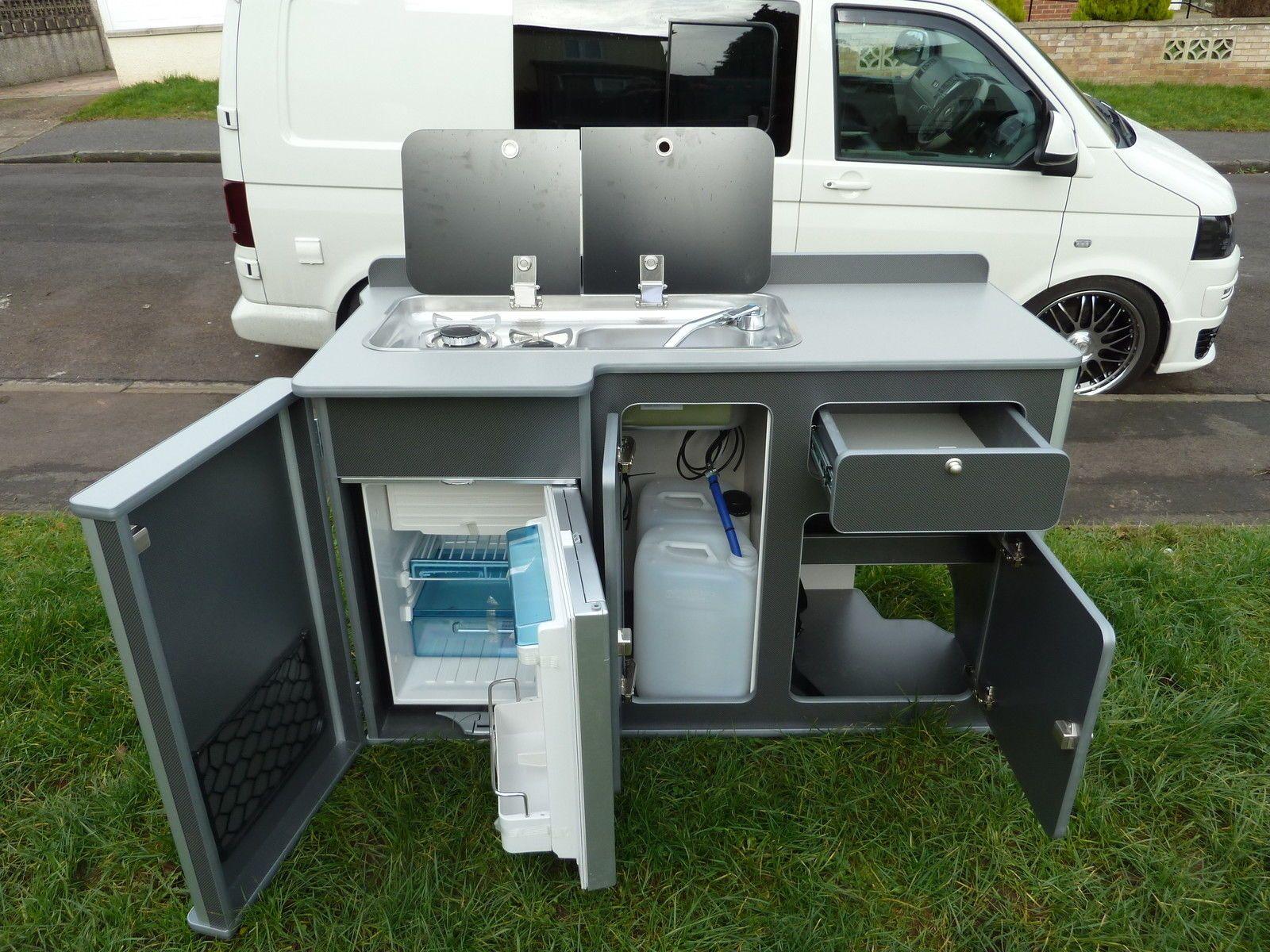 Vw T5 Kitchen Pod With Waeco Cr 50 Fridge Camper Van Kitchen Camper Van Conversion Diy Camper Conversion